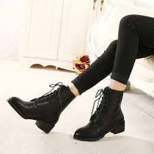 womens boots low heel fashion combat lace up black ankle boots low heels