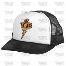 lowbrow customs trucker hat with embroidered vintage arched logo patch