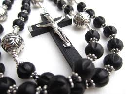 black rosary mens large black fashion rosary necklace in black wood and silver