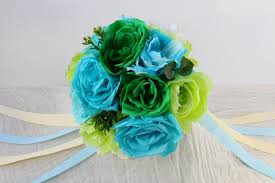 Teal Roses Paper Flower Bouquet Roses And Peonies Ribbon Wedding Bouquet