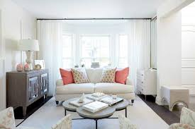 Long White Curtains White Roll Arm Sofa With Salmon Pink Pillow Transitional