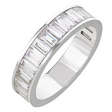 channel set wedding band white gold baguette white diamond half eternity channel set
