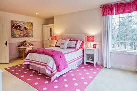 bedroom polkadot pink rugs ceiling lighting modern bed glass