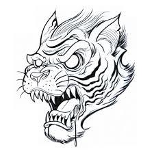 outline tiger head tattoo design jpg 500 500 badges