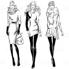 fashion models in sketch style fall winter stock vector art