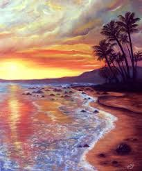 sunset on the beach oil painting on canvas by yasminesweet