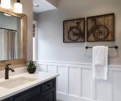 Bathroom Vanities Portland Portland Wainscoting Full Wall Powder Room Transitional With Sink