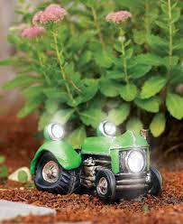 solar powered vintage tractor vehicle garden decor fresh garden