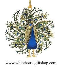 peacock ornament 24kt gold finished three dimensional beautiful