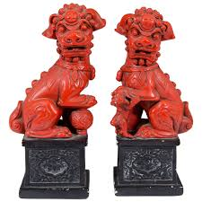 choo foo dogs vintage pair of carved foo dogs foo dog dog and