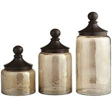 home accessories sundarra glass canisters with black lid for