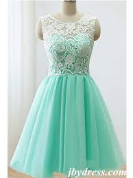 custom made a line round neck short green yellow blue lace prom
