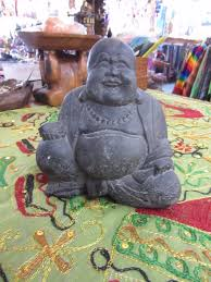 funky stuff dark concrete antique happy laughing buddha statue