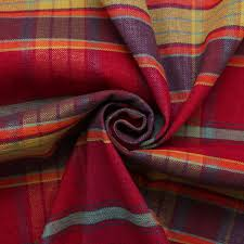 Maroon Upholstery Fabric Designer Discount Linen Look Tartan Check Plaid Curtain Upholstery