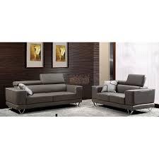 canapé 3 places design 3 places design piedro en tissu brun têtières relevables