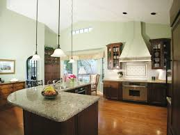 l shaped kitchen with island layout built in cooktop and oven dark