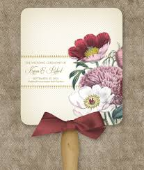 wedding ceremony program fans poppy program fan template print