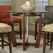 round counter height dining table with micro suede chair set by