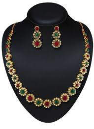 green stone necklace set images Exclusive design gold finishing maroon and green stone necklace set jpg