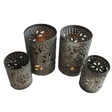 metal tea light holders silver metal cylinder with floral punch outs tea light candle holder