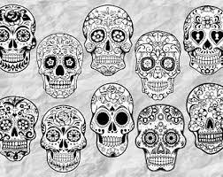 sugar skull svg etsy