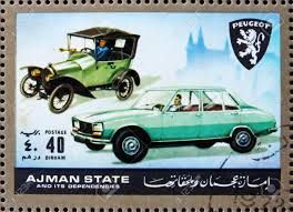 peugeot cars uae ajman circa 1972 a stamp printed in the ajman shows peugeot