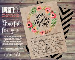 rustic floral wreath thanksgiving invitation thanksgiving dinner