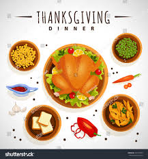 thanksgiving dinner cartoon pics vector illustration food thanksgiving dinner on stock vector