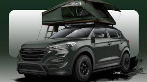 hyundai crossover 2016 hyundai hunts scantily clad sema models with camper tucson autoweek