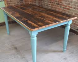 stained table top painted legs reclaimed chestnut wood rustic dining table farmhouse