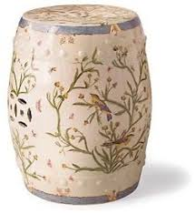 floral vine porcelain stool traditional ottomans and cubes