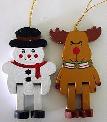 wooden russ snowman and reindeer ornaments with jointed legs russ