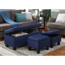 blue storage ottoman joveco microfiber button tufted storage