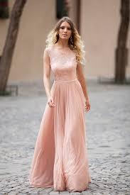 blush pink lace and chiffon sleeveless elegant a line long evening