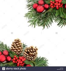 christmas border with flora and red baubles holly ivy gold pine