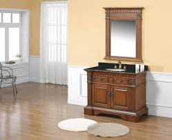 Laminate Wood Flooring In Bathroom Brown High Gloss Finish Wooden Bath Vanity With Black Combo Sink