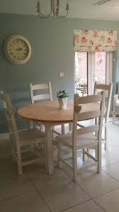 shabby chic farmhouse pine table with drawers and 6 chairs in