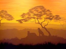 african silhouette mural
