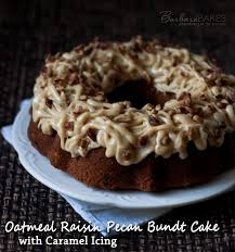 oatmeal raisin pecan bundt cake with caramel icing recipe