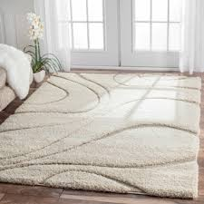 Modern Area Rugs 10x14 Nuloom Soft And Plush Ivory Or Beige Shag Area Rug Square