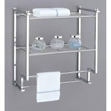 Brushed Nickel Bathroom Shelves Bathroom Shelf With Hooks Brushed Nickel Wall Shelf Bathroom