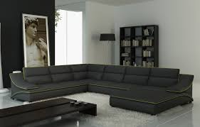 furniture leather brown sectional sofa in bright white living