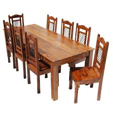 solid wood rustic transitional 9pc dining table chair set