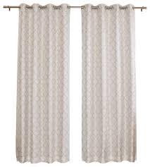 reverse quatrefoil print faux silk blackout curtain for one panel