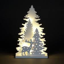 battery operated 3 layer wooden xmas scene with leds by