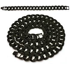 mens black link bracelet images Mens iced out black finish miami cuban link chain 15mm 30 jpg