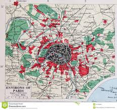 Paris France Map by Old 1945 Map Of The Environs Of Paris France Stock Illustration