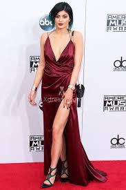 kylie jenner burgundy plunging backless celebrity prom dress