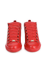 balenciaga arena high top leather sneakers in red for men lyst