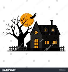 vector black house fence tree orange stock vector 485842405